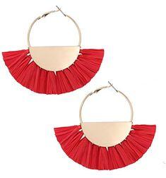 Epinki Platinum Plated Womens Stud Earrings Tassel Line Long Chain White Gold