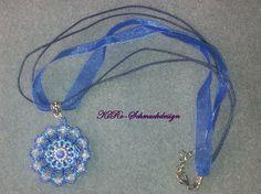 Peyote-Schmuck - Runder blauer Peyoteanhänger - ein Designerstück von KiRoWeb-Schmuckdesign bei DaWanda