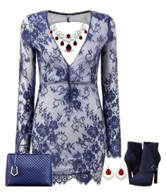 A fashion look from December 2015 featuring long sleeve short dress, leather booties and tote handbags. Navy Cocktail Dress, Long Sleeve Mini Dress, Dress Long, Navy Lace, Dress P, Floral Lace, Clothes For Women, Sexy, Womens Fashion