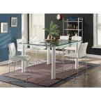 Gordias Chrome and White PU Counter Height Chair