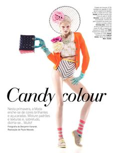 Dani Seitz by Benjamin Kanarek & Paulo Macedo for Vogue Portugal 'Candy colour with model Dani Seitz' Editorial - April 2012