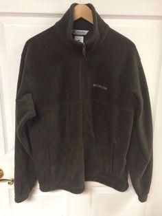 Columbia Mens Full Zip Dark Green Soft Warm Fleece Jacket Size Medium Polyester #Columbia #FleeceJacket