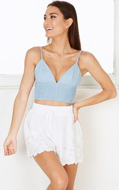 Showpo Bolide crop top in chambray - 6 (XS) Sleeveless Crop Tops Online, Chambray, Sleeve Styles, Long Sleeve Tees, Camisole Top, How To Wear, Outfits, Clothes, Hot Pink