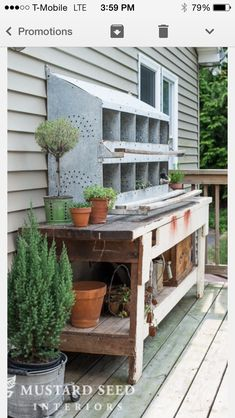 Pairing and old workbench with an antique galvanized chicken nesting box to make a potting bench.two of my favorite things put together! Chicken Nesting Boxes, Outdoor Sinks, Potting Tables, Concrete Pots, Potting Sheds, Garden Pots, Garden Sheds, Garden Benches, Glass Garden
