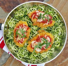 Quinoa Chicken Parmesan with Spiralized Zucchini Noodles