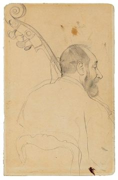 Edgar Degas (French, 1834–1917),Achille Henri Victor Gouffé (1804–1874), Double Bass Player at the Paris Opéra, 1869. Graphite,227 x 321mm. The Morgan Library  Museum.