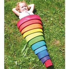 This enormous wooden rainbow might just be the most amazing thing in your playroom. The possibilities for creative play are endless with this gorgeous wooden rainbow and the 12 blocks can be used in a myriad of ways. Stacking Toys, Stacking Blocks, Grimms Rainbow, Rainbow Blocks, Wooden Rainbow, Copy Cat Chic, Montessori Toys, Montessori Bedroom, Creative Play