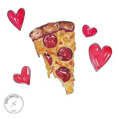 Good objects - Getting cheesy for valentines! Pizza tutorial on snapchat now!  goodobjects  #goodobjects #illustration #watercolor
