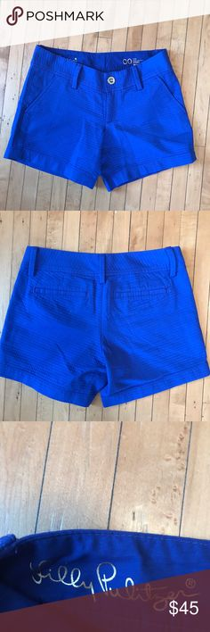 Lilly Pulitzer NWOT Royal Blue Textured Shorts Lilly Pulitzer Royal Blue Textured Shorts. New and never worn, in perfect condition, without tags. These gorgeous shorts have a 5 inch inseam. Royal blue with a texture to the material. Size 00. Lilly Pulitzer Shorts