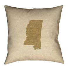 """Ivy Bronx Austrinus Mississippi Pillow Cover Size: 20"""" x 20"""", Fill Material: Cotton Twill, Color: Dark Brown"""