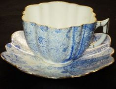 Shelley Wilman THE Foley China Jungle Print Empire Blue TEA CUP AND Saucer | eBay