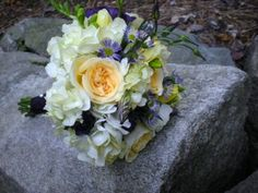 Cream, White and Purple Flowers bridal bouquet design by Julie Floyd of Creative Gardens, Lee, NH  www.creativegardensnh.com