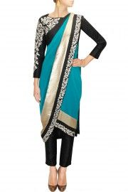 Teal embroidered pre draped sari with black blouse and pants