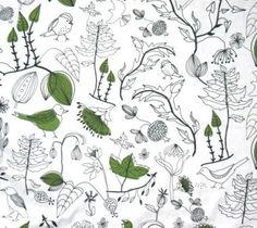 Q - for your bulletin board. Very cute green and white fabric from IKEA. Cotton Linen, Cotton Fabric, Botanical Interior, Ikea Fabric, Fabric Birds, Textile Prints, Textiles, Art For Art Sake, Novelty Print