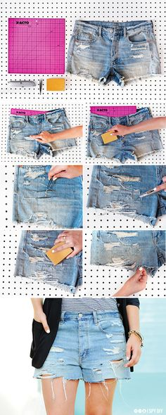 DIY STEPS | Shredded Distressed Denim #ispydiy