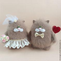 Купить Свадебные котофеи. - бежевый, коты и кошки, жених и невеста, вязаные игрушки, вязаные коты