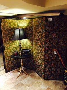 Antique Fabric Screen with Wooden Frame Four Panels