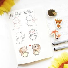 "Finally autumn is coming and so I can show you my new tutorials about ""autumnal animals"" 😁 Do you like my squirrels? Cute Easy Drawings, Kawaii Drawings, Doodle Drawings, Doodle Art, Bullet Journal Art, Bullet Journal Ideas Pages, Bullet Journal Inspiration, Banner Doodle, Autumn Doodles"