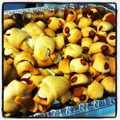 Tailgate recipes - pigs in a blanket, pepperoni rolls, crockpot chicken chili, black bean & corn salsa, PW restaurant style salsa