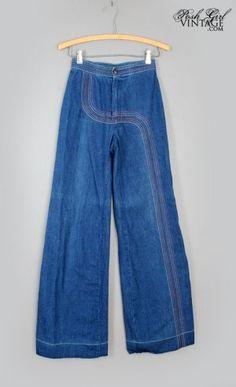 672835050762 1970 s Vintage Blue Jeans Rainbow Embroidered Denim - M VINTAGE JEANS 70 s  Women s BLUE DENIM PANTS