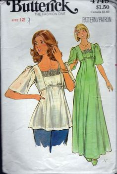 """Vintage 1970's Butterick 4749 Retro Long Dress or Top Sewing Pattern Size 12 Bust 34"""" by Recycledelic1 on Etsy"""