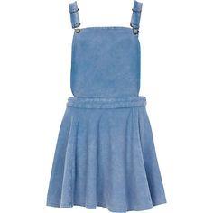 Mid wash denim pinafore skater dress - day dresses - dresses - women