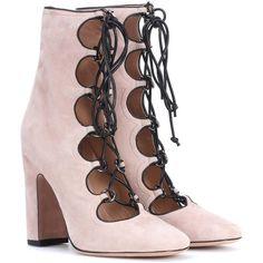 Valentino Valentino Garavani Suede Ankle Boots (18 615 ZAR) found on Polyvore featuring women's fashion, shoes, boots, ankle booties, booties, neutrals, short suede boots, short boots, bootie boots and pink suede booties