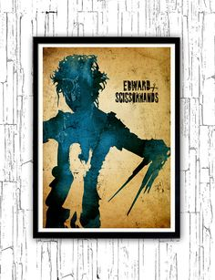 Tim Burton Edward Scissorhands Minimalist Poster by moonposter Tim Burton Characters, Tim Burton Films, Comic Poster, All Poster, Movie Posters, Theater Room Decor, Halloween Pillows, Edward Scissorhands, Silhouette Art