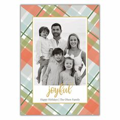 Pastel Plaid Christmas Card New Year Greeting Cards, New Year Greetings, Very Merry Christmas, Plaid Christmas, Christmas Photo Cards, Christmas Photos, Print Packaging, Holiday Festival, Diy Cards