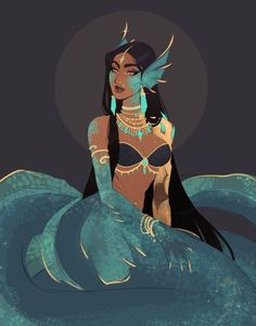 Illustration of a tribal dark skinned mermaid with golden jewelry. Character Design, Character Inspiration, Fantasy Art, Mermaid, Mythical Creatures, Overwatch, Art, Mermaid Art, Pretty Art