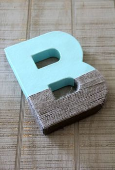 Grey Yarn Dipped Letters, Paper Mache Letters, Boy Nursery Decor, grey nursery, boy Baby Shower, blue and grey nursery decor on Etsy, $12.00