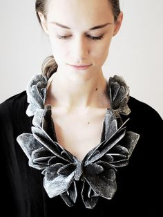 "Necklace | Hanna Liljenberg. ""Sherds"". 2013/ Balsa wood, paint, lacquer, silver, silksteel"