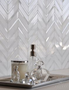 Chevron bathroom tile - shower in master or feature in powder
