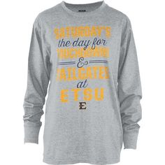 022be0063 Three Squared Juniors  East Tennessee State University Touchdowns and  Tailgates T-shirt (Grey