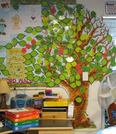Reading Tree // Starts out bare at the beginning of the year, add a leaf for every book you read together as a class! Cool visual to see how much you've actually read! Maybe on each leaf write the book name/author as a reminder. Classroom Design, Classroom Displays, Future Classroom, School Classroom, Classroom Organization, Classroom Decor, Classroom Birthday, Teaching Reading, Teaching Tools