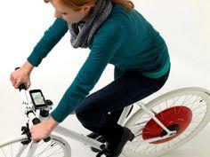 The Copenhagen Wheel with an iphone