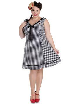 Hell Bunny Plus Size Sweet Lady Gingham Check Ladybug Embroidery V-neck Dress