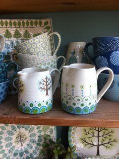 fair isle tree and border jugs