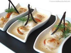 Noix de Saint-Jacques poêlées en écume de vanille Bourbon - Meilleur du Chef http://www.meilleurduchef.com/cgi/mdc/l/fr/recette/saint-jacques-ecume-vanille.html