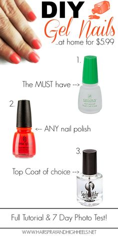 DIY Gel Nails with Gelous Nail Gel by ACI $5.99 at Sally's Apply 1 coat of Gelous to clean/dry nails & let dry Apply 1 coat of the nail color of your choice & let dry Apply 1 coat of Gelous,let dry Apply 1 coat nail color,let dry Apply 1 coat of top coat,let dry Apply 1 coat of Gelous & let dry NOTES *'let dry': let set for about 45 seconds *Each coat should be thin *You can use ANY nail polish, DOES NOT need to be gel *For top coat you can use whatever