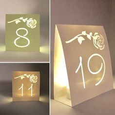 WEDDING TABLE NUMBERS Table Luminaries • Blush Pink Pastel White Pink Aqua • Lighted Table Numbers • Elegant Wedding Centerpieces