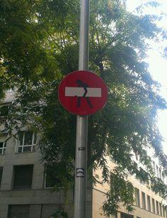 Road sign in Barcelona, Spain