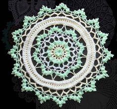 Round Centerpiece, Green Doily, Yellow Table cover, Lacy Tabletop, Wall Display, Wall Art, Home Decor, Colorful Doily, Handmade Crochet