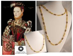 "Helena Snakenborg Tudor Portrait Replication Cotiere Chain Necklace www.sapphireandsage.com  Old World ""bling"" at its finest! This replication neck chain is a spot-on match for its inspirational original, consisting of decorative large metal chain links, plated jumprings, and antiqued 7mm bali-style melon beads with tiny 4mm metallic rocaille beads hand-strung onto sturdy metal-plated wires"