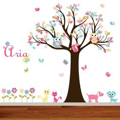 Nursery Vinyl Tree Decal Nursery Wall Stickers by wallartdesign