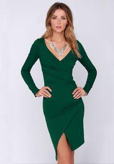 Kleid Langarm V-Ausschnitt mit Schlitz, grün 17.59