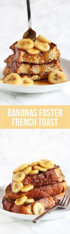 Best breakfast recipe ever! Bananas Foster French Toast feature a caramelized brown sugar banana topping and a rich Challah french toast. The perfect start to any morning!