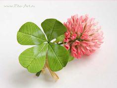 Цветы ручной работы - Брошь-удача с четырехлистным клевером