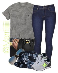 """Bored out of my mind and idk if i like this"" by trill-forlife ❤ liked on Polyvore featuring moda, Ralph Lauren, Michael Kors, Ray-Ban, Dr. Denim, HUF y New Balance"