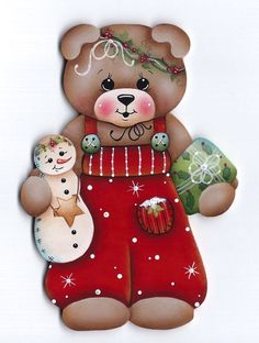 HP TEDDY BEAR with Snowman & Present FRIDGE MAGNET #Handpainted